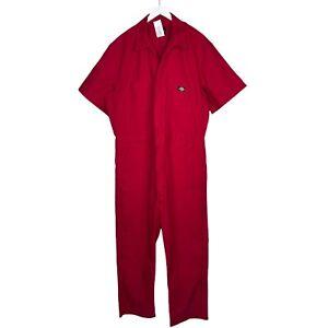 Dickies Red Short Sleeve Jumpsuit, Work Wear Mechanic One Piece, Size XL EUC