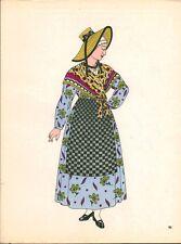 Gravure d'Emile Gallois costume des provinces françaises 1950 Lyonnais