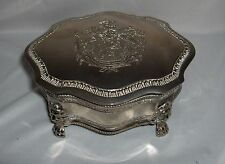 Vintage Silver Plate Hinged Jewelry Trinket Box Lion Crest & Feet NICE
