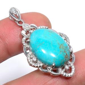 "Arizona Turquoise & Cz Gemstone 925 Sterling Silver Pendant Jewelry 1.7"" T2997"