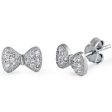 Pave Cz Bow Tie .925 Sterling Silver Earrings