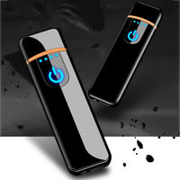DV_ USB Rechargeable Windproof Touch-sensing Cigarette Lighter Collectible Gift