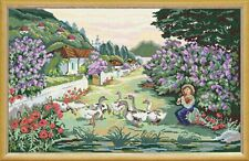 """Needlepoint tapestry painted canvas.Swain with Gooses 23""""x35"""" Gobelin S25"""