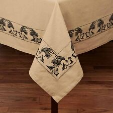 "(1) Farm Life Black Rooster Woven Cotton Tablecloth Country Home Decor 60""x90"""