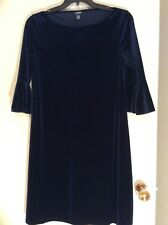 CHAPS WOMEN'S NAVY BLUE VELOUR 3/4 BELL SLEEVE SHIFT DRESS SIZE L LARGE~W/TAG