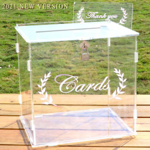OurWarm Wedding Card Box for Wedding Reception, Clear Card Boxes with Lock, Gift
