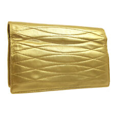 CHANEL Quilted CC Clutch Hand Bag Wallet Pouch 1914456 Purse Gold Auth AK38500b