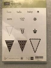 Stampin Up Pennant Parade Set Of 13 UnMounted Rubber Stamp Su Scrapbooking