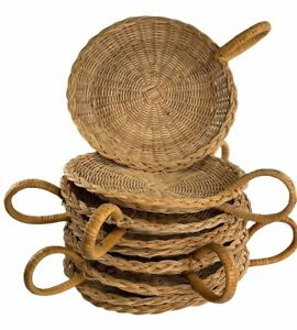 """Set of 9 Vintage 10"""" Wicker Paper Plate Holders Bamboo Rattan with Handle Woven"""