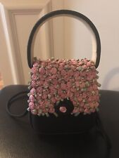 Vintage Julie Feldman Black Handbag with her Signature Baby Roses