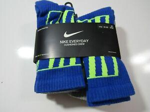 Nike Boys Everyday Cushioned Crew Socks 6 Pack SX6955 Nwt