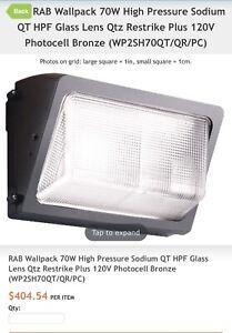 RAB Lighting WP2 Wallpack Light 70W HPS WP2SH70QT/QR/PC 120V Glass Lens MSRP$404