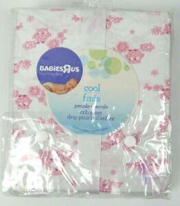 Babies R Us Crib Sheet White / Pink Owls 100% Cotton