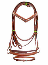 New snaffle leather bridle TAN with white diamonte + rein Pony