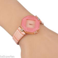1PC New Ladies Women Shiny With Rhinestone Watch Faux Leather WristWatch Watch