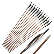 """New listing Archery Traditional 33"""" Bamboo Arrows Fletching Handmade Arrow for Recurve Bow"""