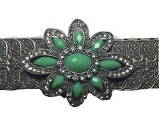 True Vintage Belt Sz 28�-38� Silver Tone Metal Stretch Floral Rhinestone Buckle