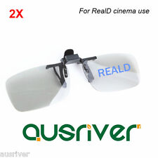 2 Pairs Clip On Adult 3D Glasses for RealD Cinema Use Polarized 3D TVs Monitors