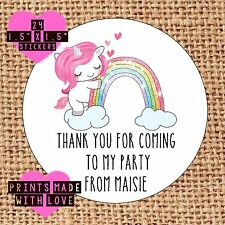 Personalised unicorn 24 party bag stickers sweet cone labels thank you rainbow