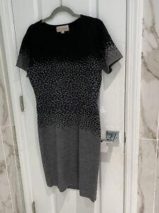 Philosophy Republic Gray Black Leopard Print Fade Sweater Dress M NWT! MSRP $98