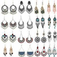 Bohemian Ethnic Tribal Retro Stud Hook Dangle Earrings Jewelry Women Bronze Ear