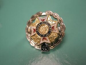 -VFW STERLING SILVER Ladies Auxiliary 40 Year Service Vintage Tie Tack Lapel Pin