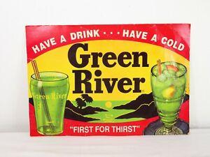 True Vintage GREEN RIVER SODA POP CARDBOARD SIGN Advertising Bottle Cap Wall Art