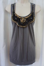 Simply Irresistible Top Sz L Gray Attached Embellished Necklace Sleeveless Shirt