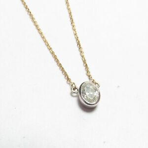 Estate 14K White Gold 0.43 Ct Oval Cut Diamond Penadant With Yellow Gold Chain