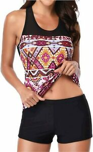 Yonique Racerback Tankini Swimsuits for Women with, Red Mandala, Size Large eNkv