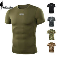 Mens Combat T-Shirt Short Sleeve Military Tactical Breathable Typhon Camouflage
