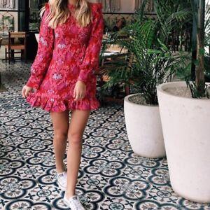 Zara Red Silk Mix Jaquard Frill Dress Size SMALL BNWOT