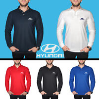 Hyundai Long Sleeve Polo T Shirt COTTON EMBROIDERED Auto Car Logo Mens Clothing