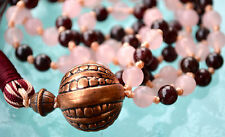 Rose Quartz Garnet Hand knotted Mala Beads Necklace - Blessed & Energized Karma