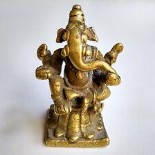 Ancien superbe Ganesh en bronze sur son trône de lotus Inde du Nord 18e