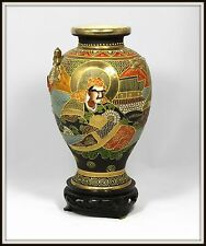 "Amazing ""Antique Japanese Satsuma Dragon Vase"" Unbelievable Detail with Stand"