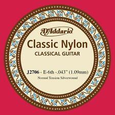 D'Addario J2706 Classic Silver Wound Nylon 6th (E) String for Classic Guitar X5