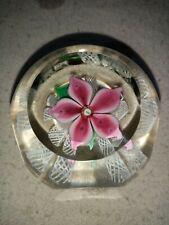 Strathearn Glass Pink Flower Paperweight