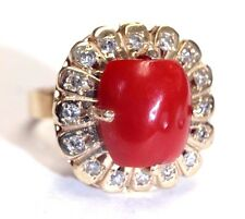 Natural Red Coral and Diamond 14K Yellow Gold Flower Halo Ring Size 7.5