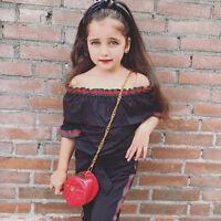 2pcs Toddler Baby Girls Fashion Off Shoulder Tops+Bowknot Pants Kid Clothes Set