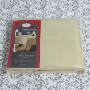 """Satin Stripe Tablecloth 60"""" x 102"""" Rectangle Gold Beige Christmas"""