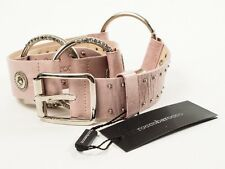 New  Roccobarocco  Pink Leather Belt Size L