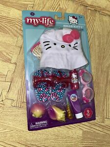 """My Life As Hello Kitty 9 Piece Beach Play Set for 18"""" Doll (Hat, Sandals)    NEW"""