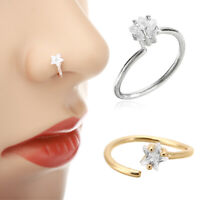 Star Crystal Nose Ring Stud Hoop Tragus Helix Cartilage Earring Body Piercing US