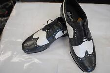 Brentano Spectator Two-Tone Grey White Wingtip Leather Tuxedo Shoes Size 9 Wide