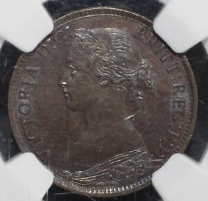 1864 Nova Scotia Bronze Half Cent UNCIRCULATED MS 64 BN NGC 1/2C
