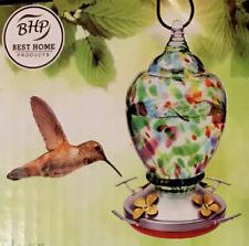 New listing Hand Blown Glass Hummingbird Feeder 9� x 5� Yard Garden Decor, Multi-Color, New