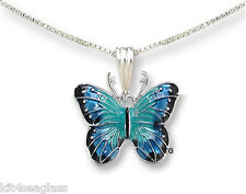 "Zarah Zarlite Blue Morpho BUTTERFLY NECKLACE Silver Plated 18"" - Chain Gift Box"
