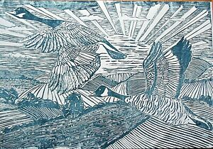 HAND PRINTED DECO STYLE LINO PRINT 'FLY AWAY HOME',CANADA GEESE OVER CORNWALL.