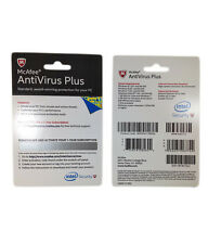 McAfee ANTIVIRUS + PLUS Latest Version 1 User 1 Year Activation Card Win 7 8 10